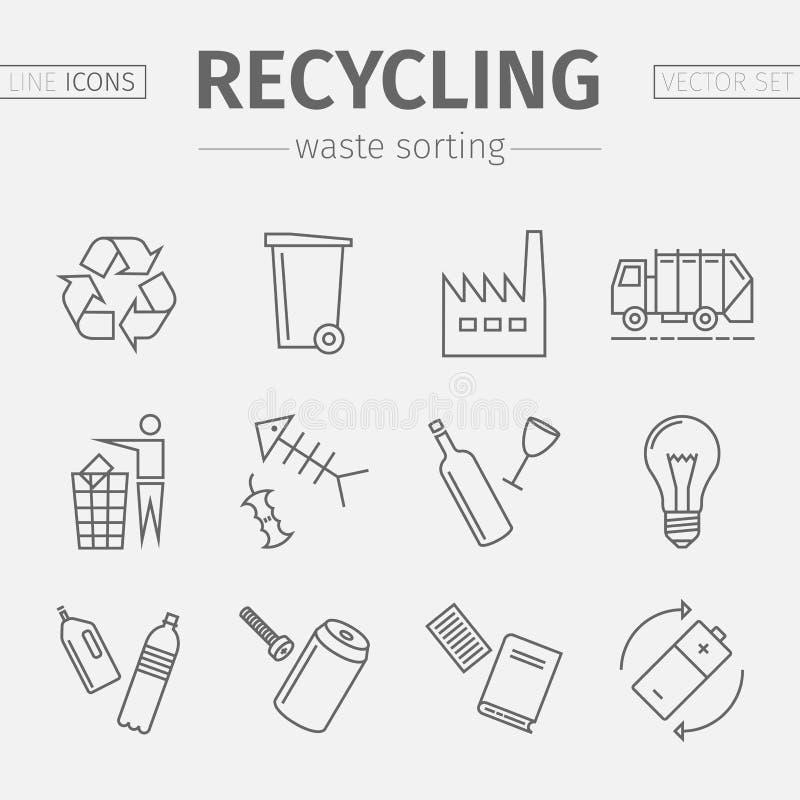 Réutilisation de la ligne icônes Ensemble de tri de rebut Vecteur illustration stock