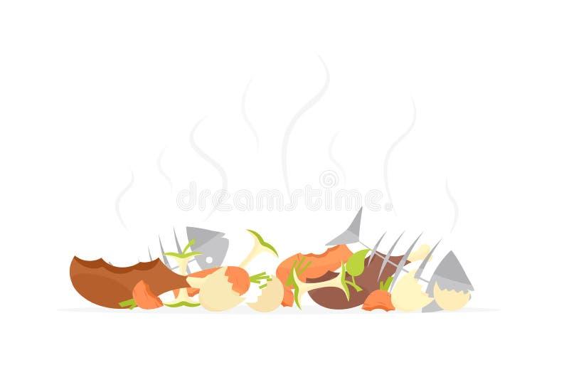 Réutilisation des déchets d'aliment biologique de déchets illustration stock