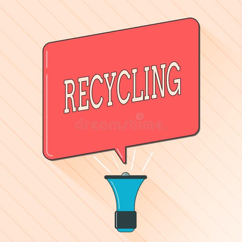 Réutilisation des textes d'écriture de Word Concept d'affaires pour convertir des déchets en matériel réutilisable pour protéger  illustration de vecteur