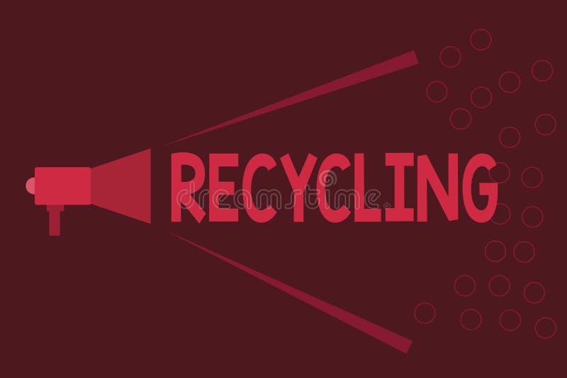 Réutilisation des textes d'écriture de Word Concept d'affaires pour convertir des déchets en matériel réutilisable pour protéger  illustration libre de droits