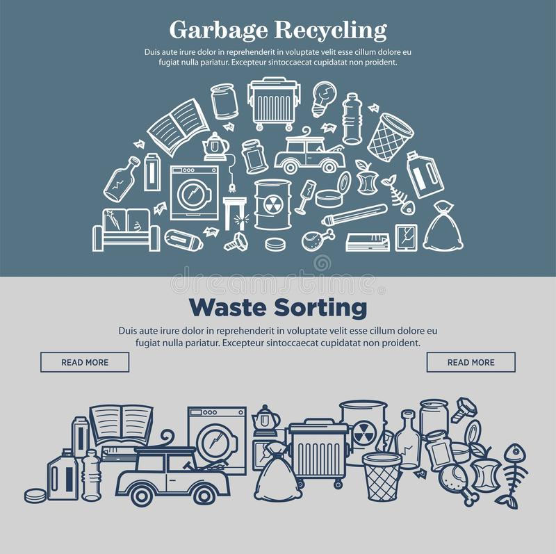 Réutilisation et déchets de déchets assortissant des pages d'Internet de prmotional illustration de vecteur
