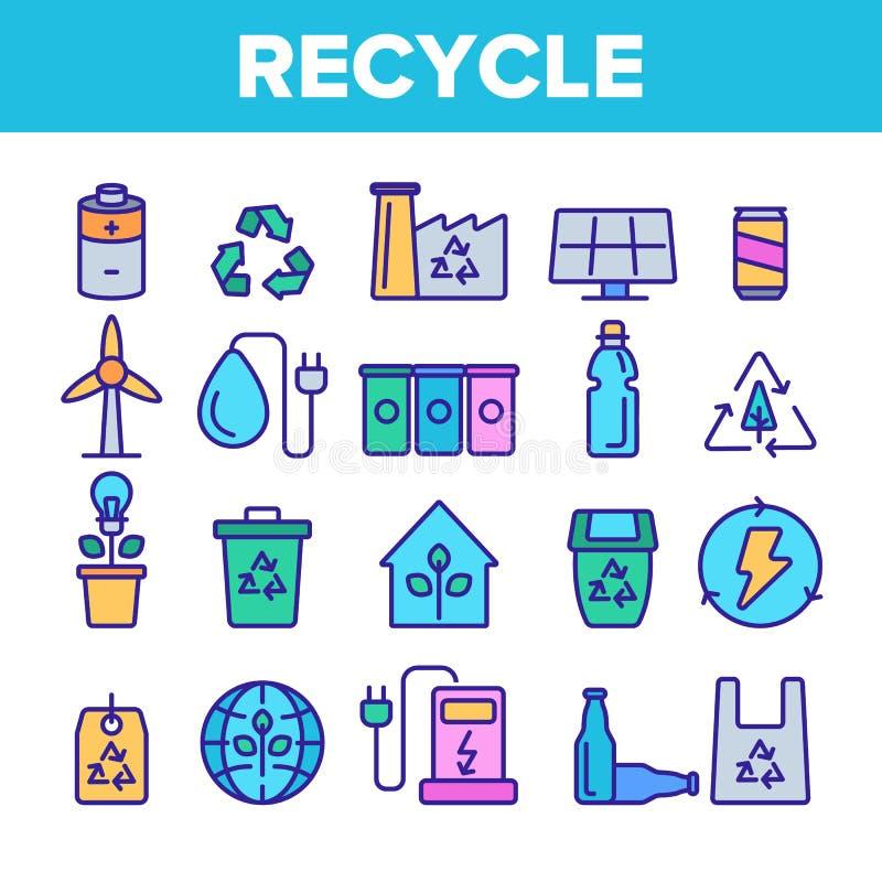 Réutilisez, des déchets assortissant l'ensemble linéaire d'icônes de vecteur illustration de vecteur