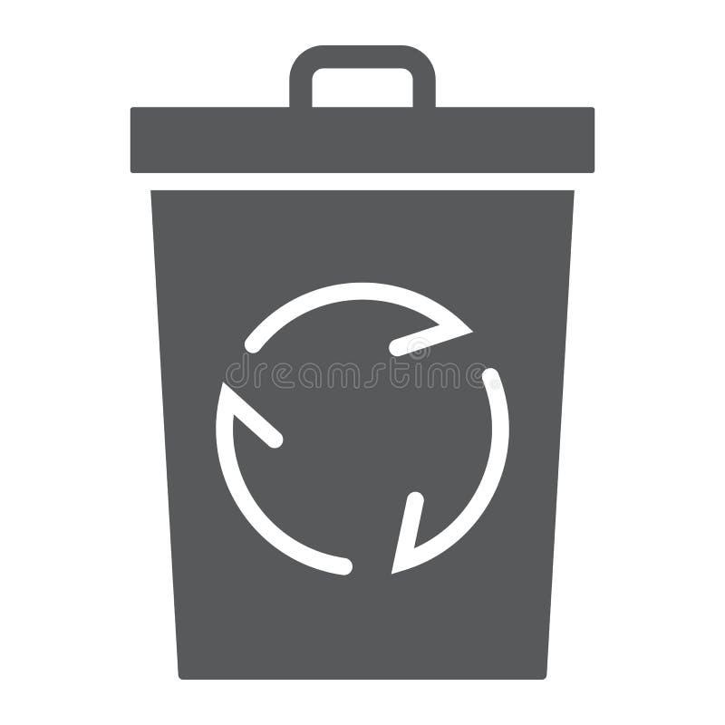 Réutilisez l'icône, l'écologie et l'énergie de glyph de poubelle illustration libre de droits