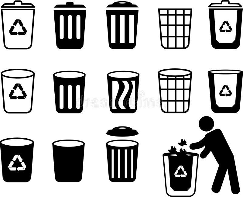 Réutilisez l'icône de vecteur de poubelle illustration stock