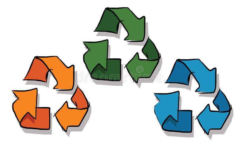 Réutilisez l'icône dans vert de couleur du croquis trois et bleu oranges illustration libre de droits