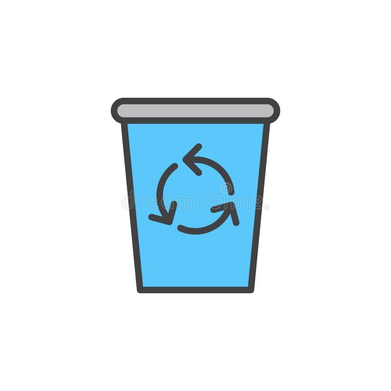 Réutilisez la ligne icône, signe rempli de vecteur d'ensemble, pictogramme coloré linéaire de poubelle d'isolement sur le blanc illustration de vecteur