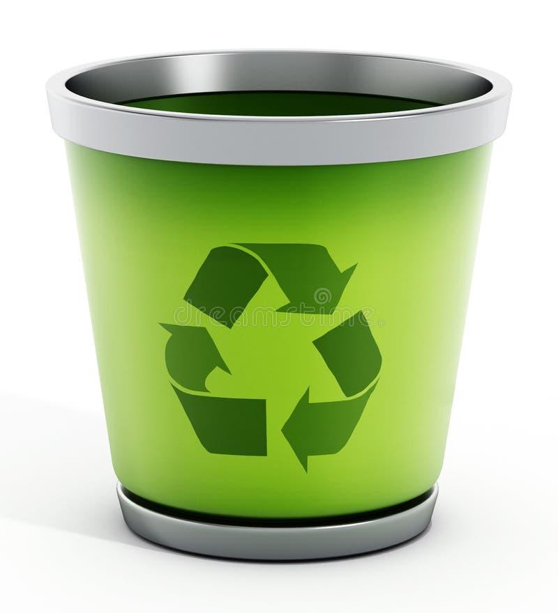 Réutilisez la poubelle d'isolement sur le fond blanc illustration stock