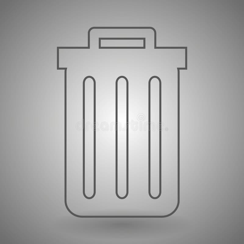 Réutilisez le graphisme de coffre illustration de découpe d'icône de poubelle sur le fond gris illustration libre de droits