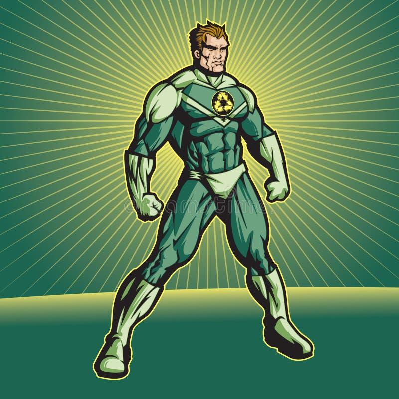 Réutilisez le héros (aucun cap) illustration de vecteur