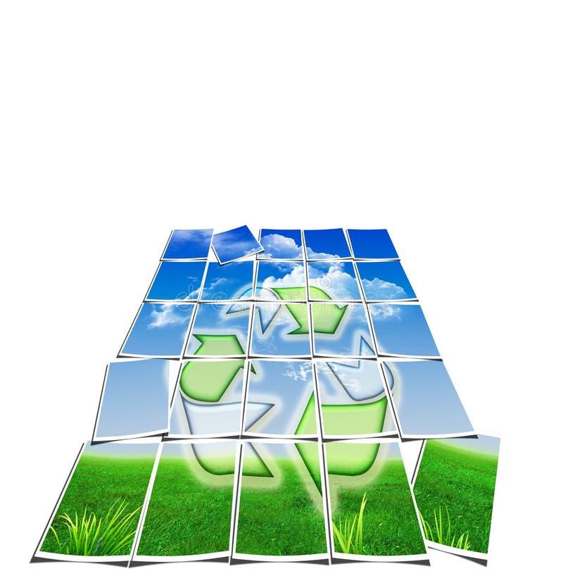 Réutilisez le papier peint de symbole - air, l'eau, la terre illustration de vecteur