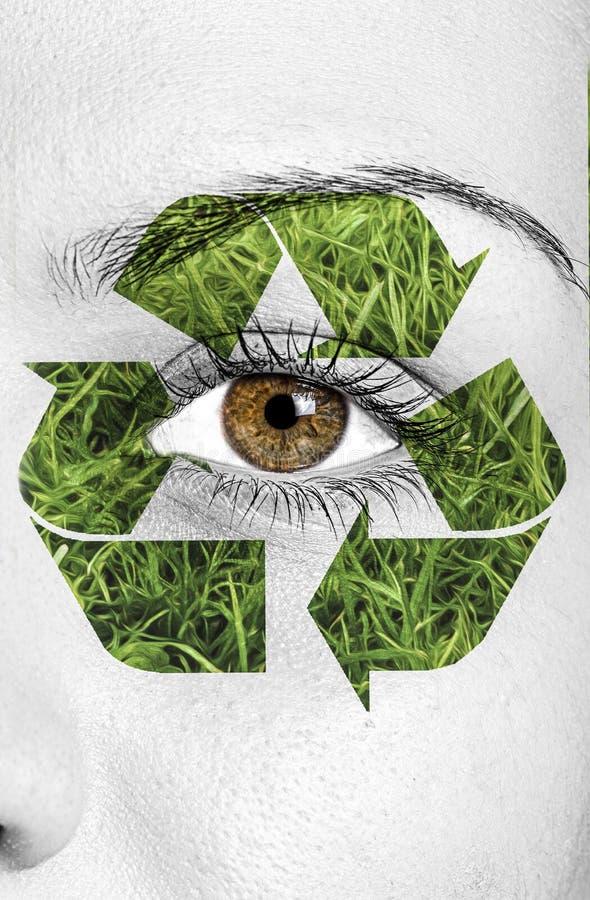 Réutilisez le signe peint sur le visage, concept d'eco image libre de droits