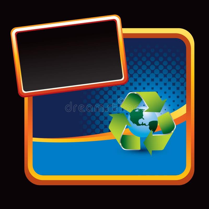 Réutilisez le symbole autour de la terre sur l'annonce stylisée bleue illustration stock