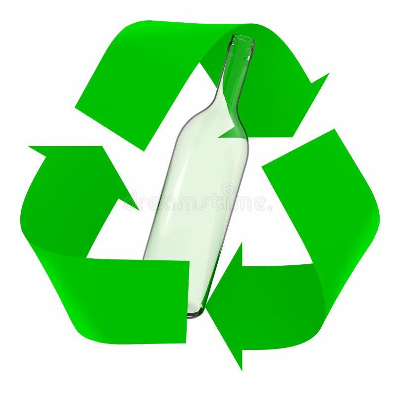 Réutilisez le symbole avec la bouteille en verre illustration libre de droits