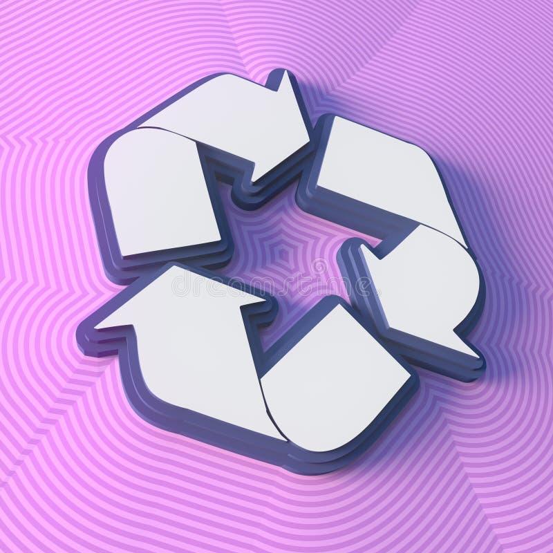 Réutilisez le symbole, bouton avec l'ombre Signe coloré rendu 3d illustration stock