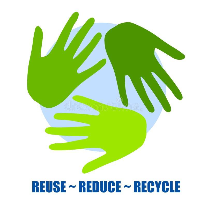 Réutilisez le symbole en tant que mains vertes illustration stock