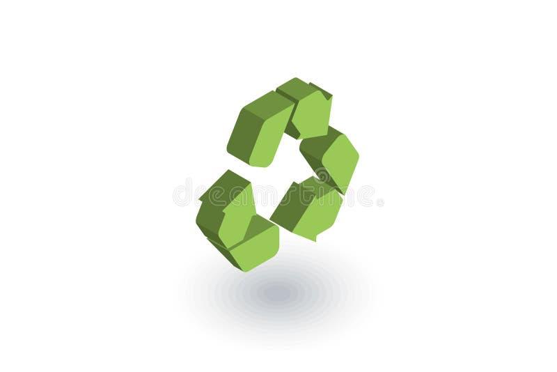 Réutilisez le symbole vert Icône plate isométrique de protection de l'environnement vecteur 3d illustration stock