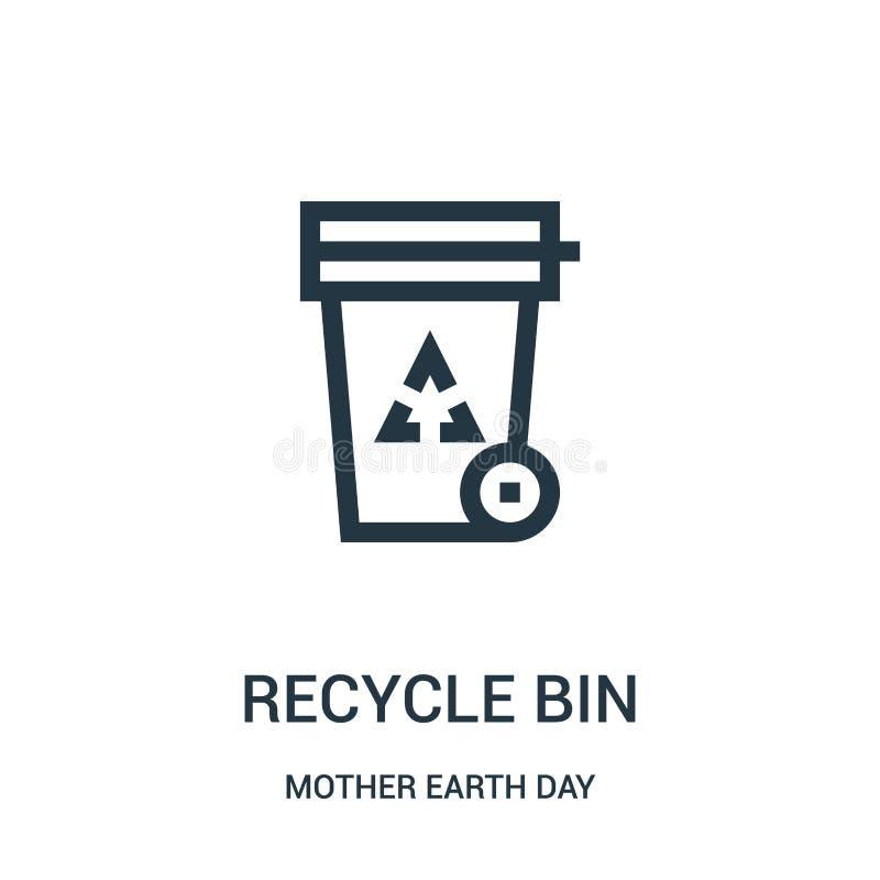 réutilisez le vecteur d'icône de poubelle de la collection de jour de Terre La ligne mince r?utilisent l'illustration de vecteur  illustration libre de droits