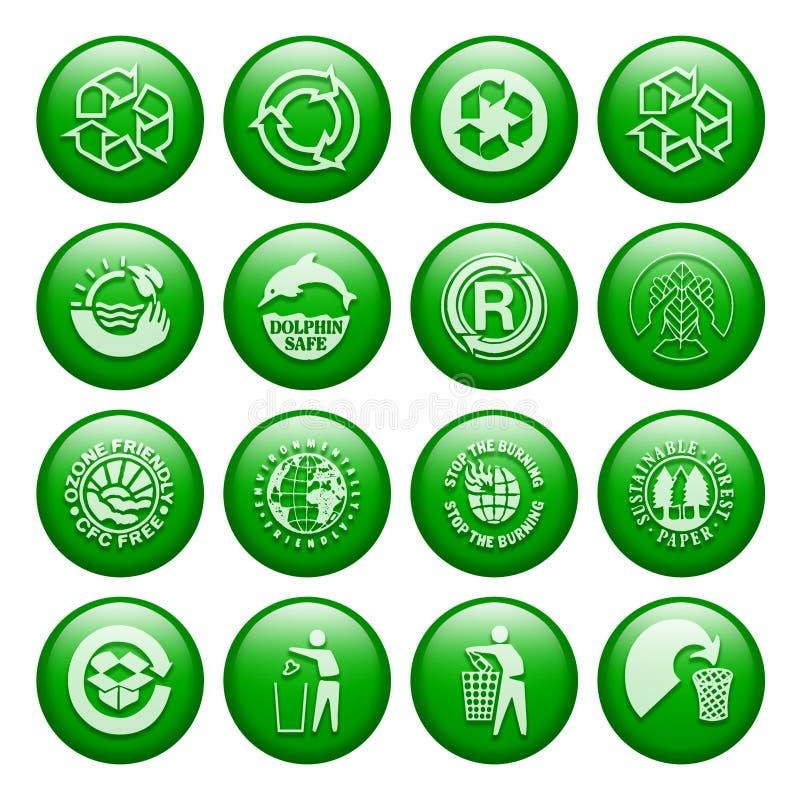 Réutilisez les boutons illustration stock