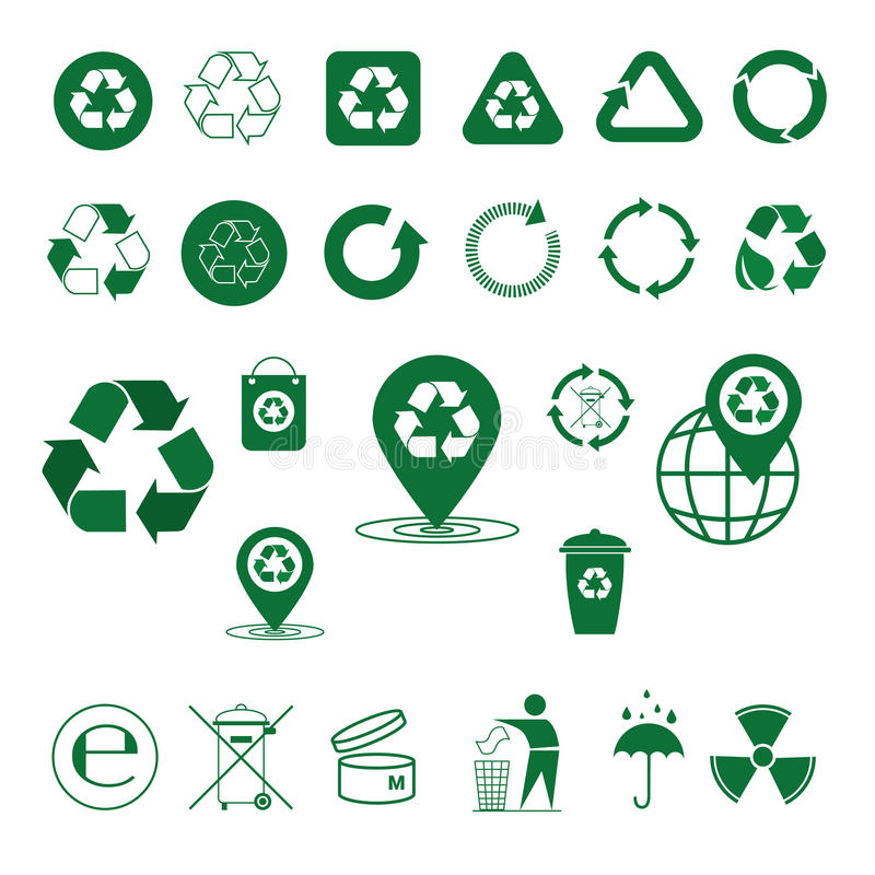 Réutilisez les flèches de rebut Logo Set Web Icon Collection de vert de symbole illustration libre de droits