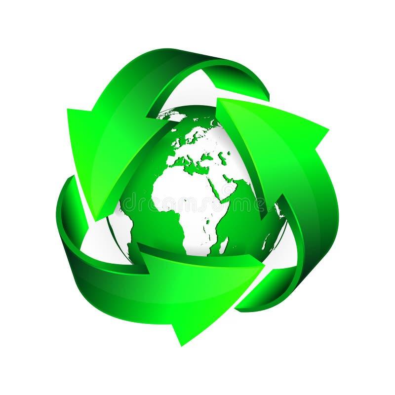 Réutilisez les flèches et la terre verte Illustration de vecteur illustration de vecteur