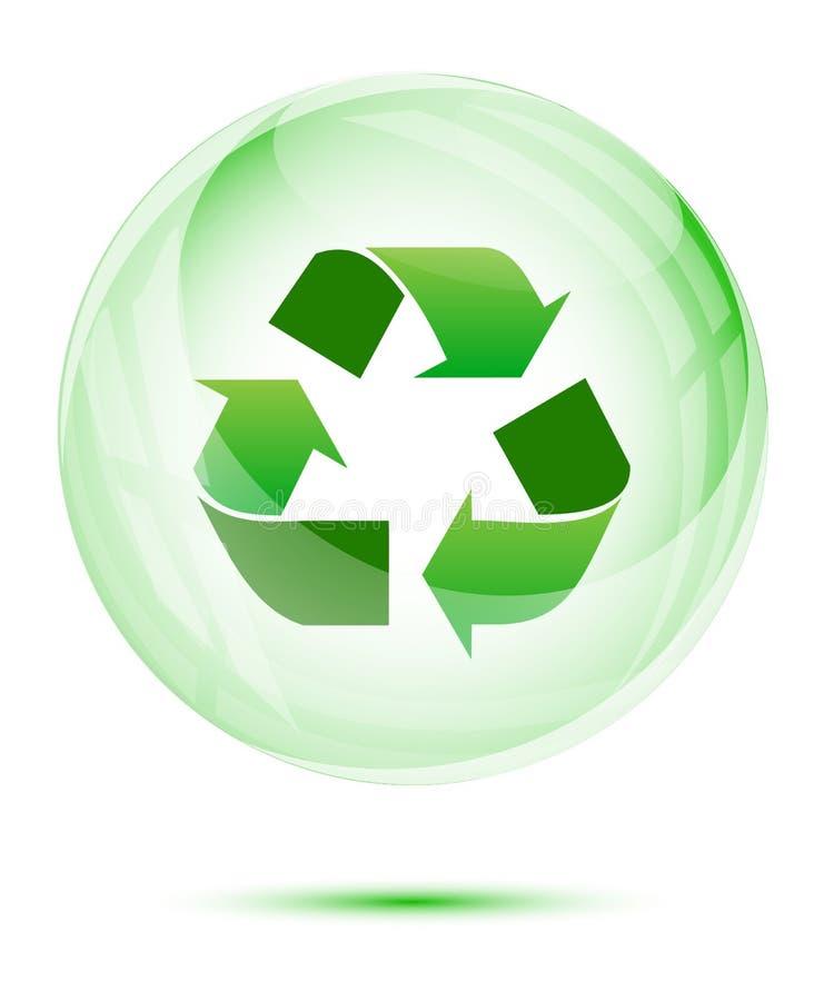 Réutilisez signent dedans la sphère en verre vert illustration stock