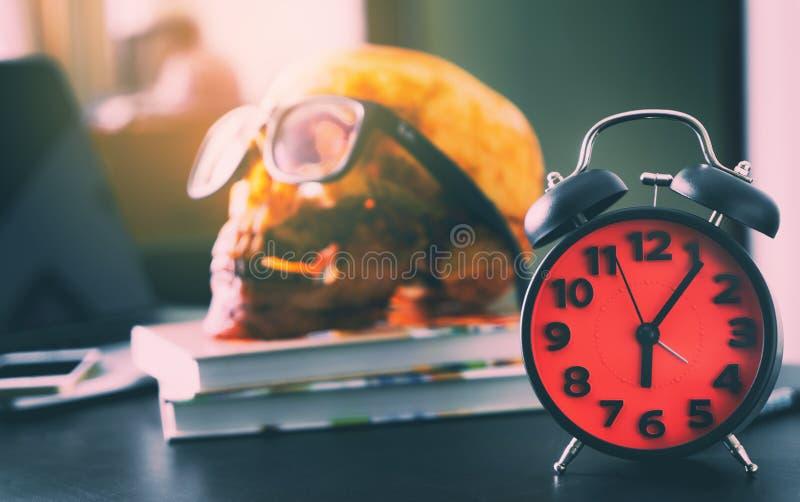 Réveil à l'horloge de ` de 6 o avec un crâne d'homme de date-butoir image libre de droits