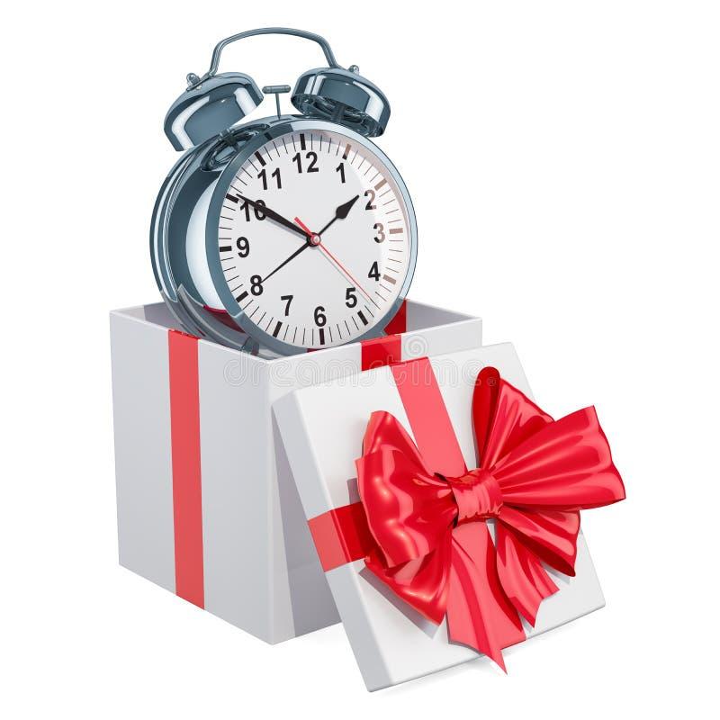 Réveil à l'intérieur de boîte-cadeau, concept de cadeau rendu 3D d'isolement sur le fond blanc illustration de vecteur