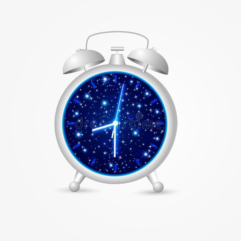 Réveil avec le ciel nocturne et les étoiles montrant le temps d'heure de la terre illustration stock