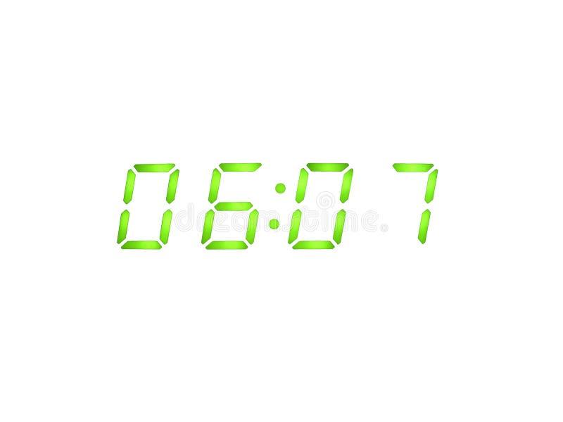 Réveil avec les chiffres verts illustration de vecteur