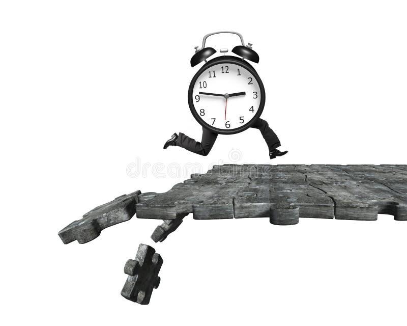 Réveil avec les jambes humaines fonctionnant sur casser l'au sol de puzzle photo libre de droits