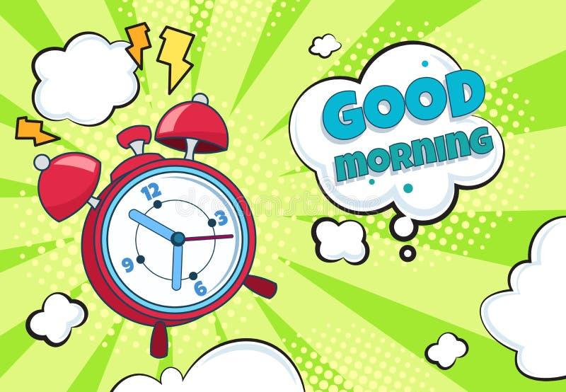 Réveil d'art de bruit Le rétro fond de temps de bande dessinée réveillent la minuterie drôle de montre de surprise de compte à re illustration de vecteur