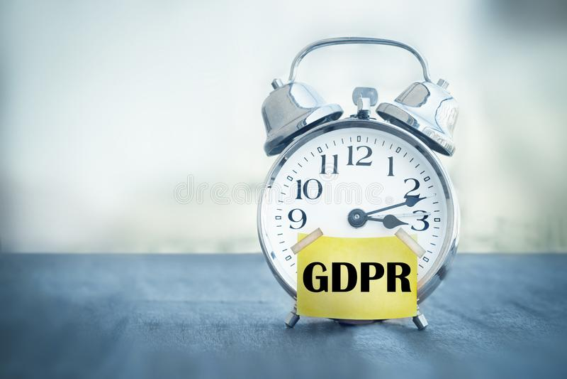 Réveil général de règlement de protection des données de GDPR photo libre de droits