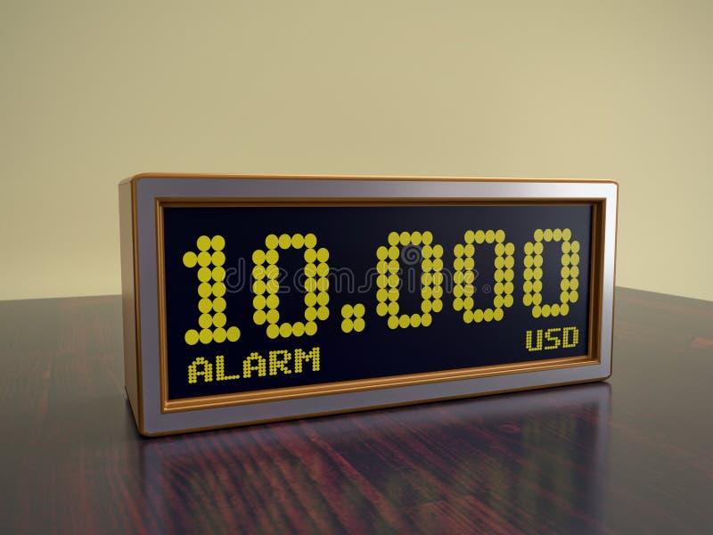 Réveil moderne montrant 10000 sommes d'USD images stock