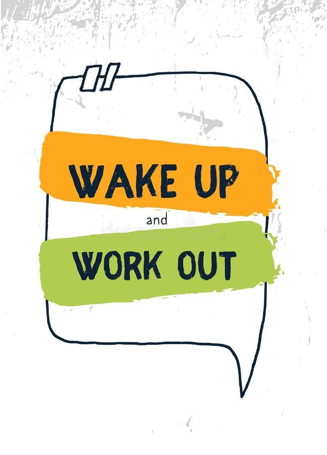 Réveillez et établissez la citation d'affiche Art inspiré de mur de sport illustration libre de droits