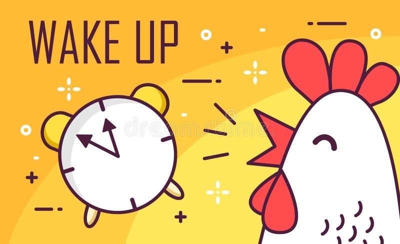 Réveillez l'affiche avec l'alarme et le coq Ligne mince conception plate Fond bonjour de vecteur illustration libre de droits