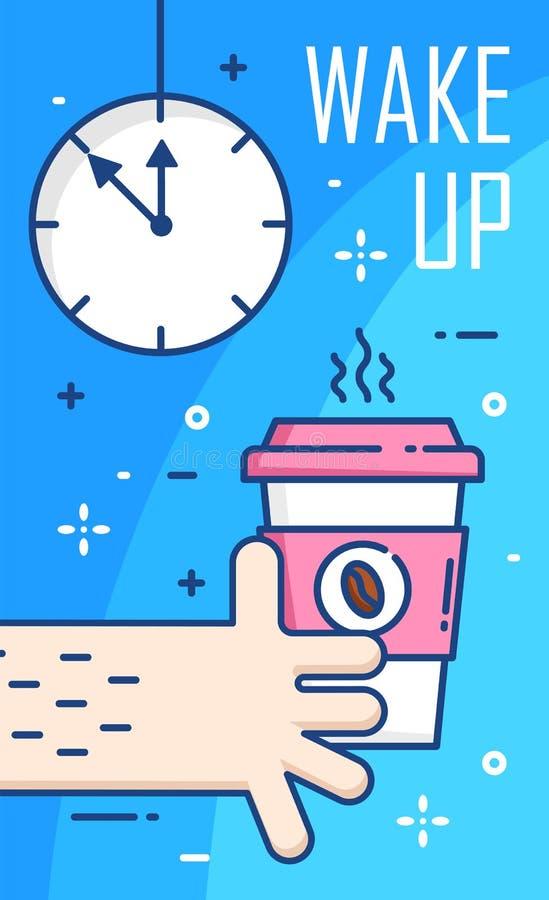 Réveillez l'affiche avec l'horloge, la main et la tasse de café sur le fond bleu Ligne mince conception plate Vecteur illustration libre de droits