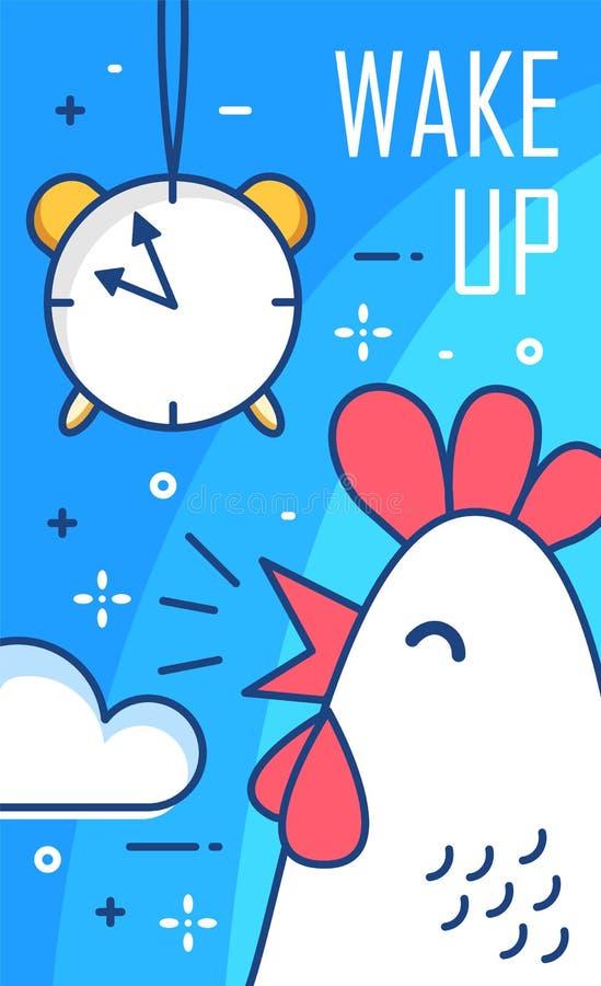 Réveillez l'affiche avec le réveil et le coq Ligne mince conception plate Fond bonjour de vecteur illustration de vecteur