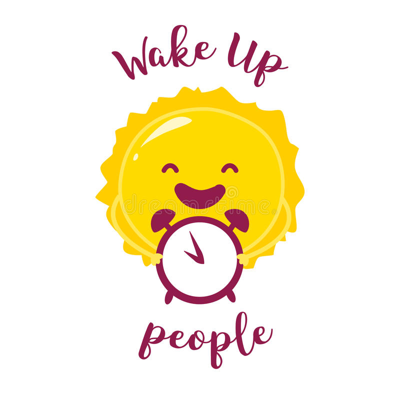 Réveillez l'affiche avec le soleil et le réveil drôles Illustration de vecteur illustration de vecteur