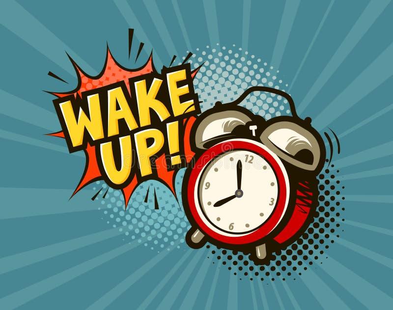 Réveillez la bannière Réveil dans style comique d'art de bruit le rétro Illustration de vecteur de dessin animé illustration libre de droits
