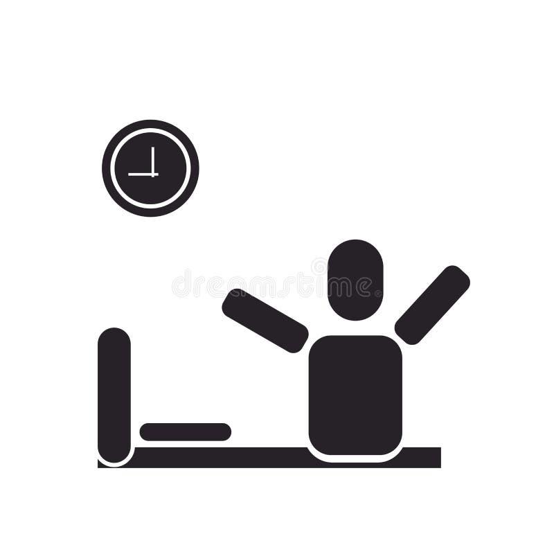 Réveillez le signe et le symbole de vecteur d'icône d'isolement sur le fond blanc illustration stock
