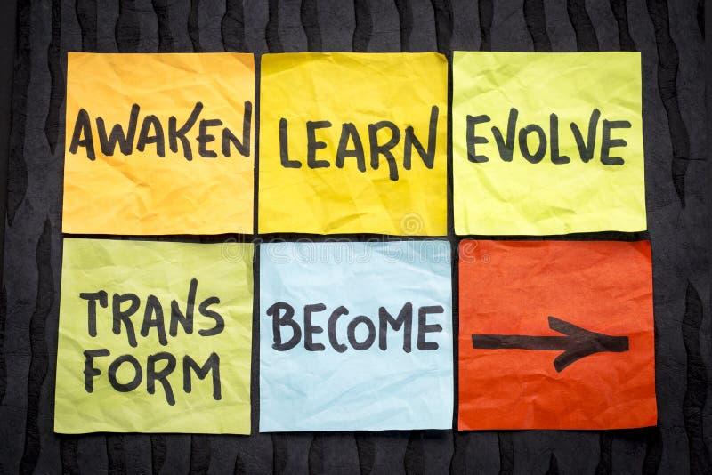 Réveillez-vous, apprenez, évoluez, transformez et devenez concept photo stock