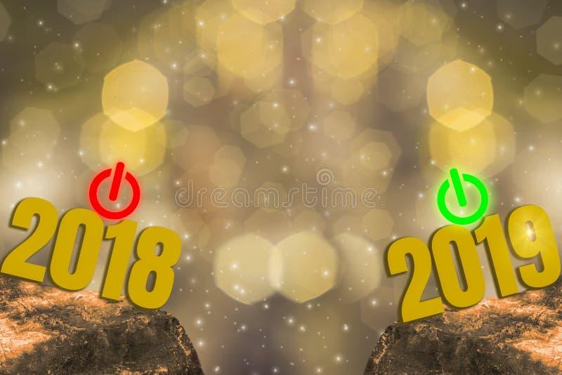 Réveillon de la Saint Sylvestre 2018 et commencer le thème 2019 d'éclat de l'or, bonne année avec le bokeh léger d'or de scintill illustration libre de droits