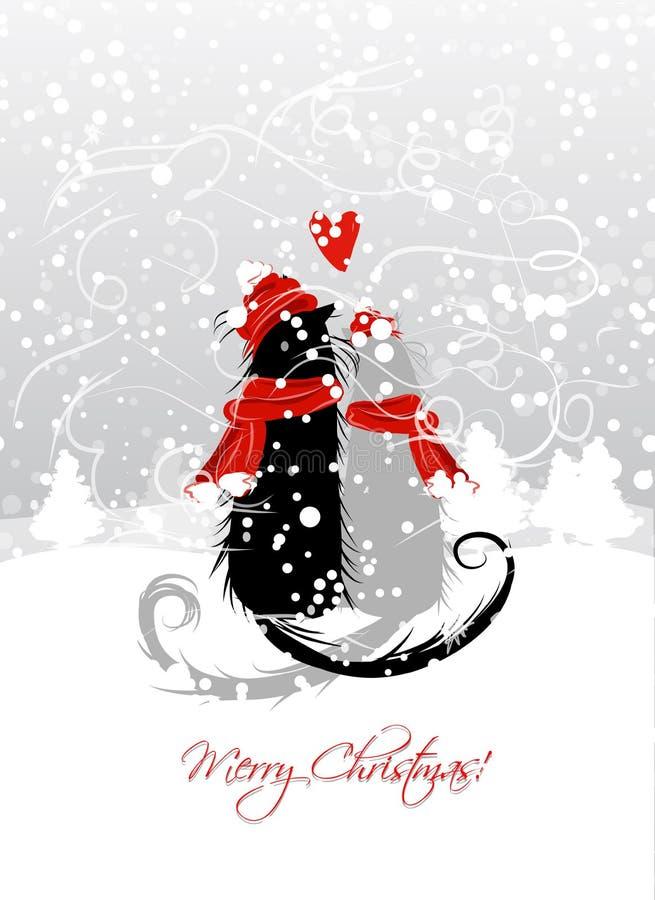 Réveillon de Noël. Couples des chats de Santa ensemble illustration libre de droits