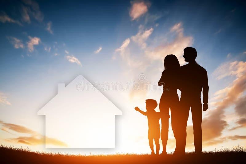 Rêve de famille au sujet d'une nouvelle maison, maison Enfant, parents illustration de vecteur