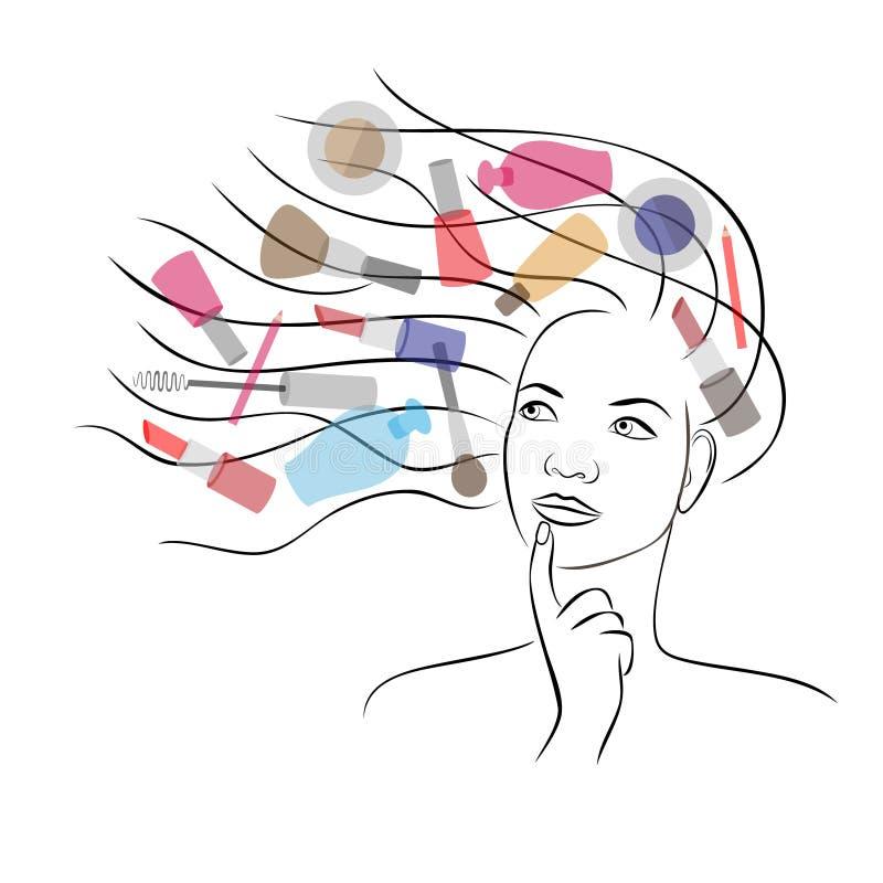Rêve de femmes au sujet des cosmétiques illustration libre de droits
