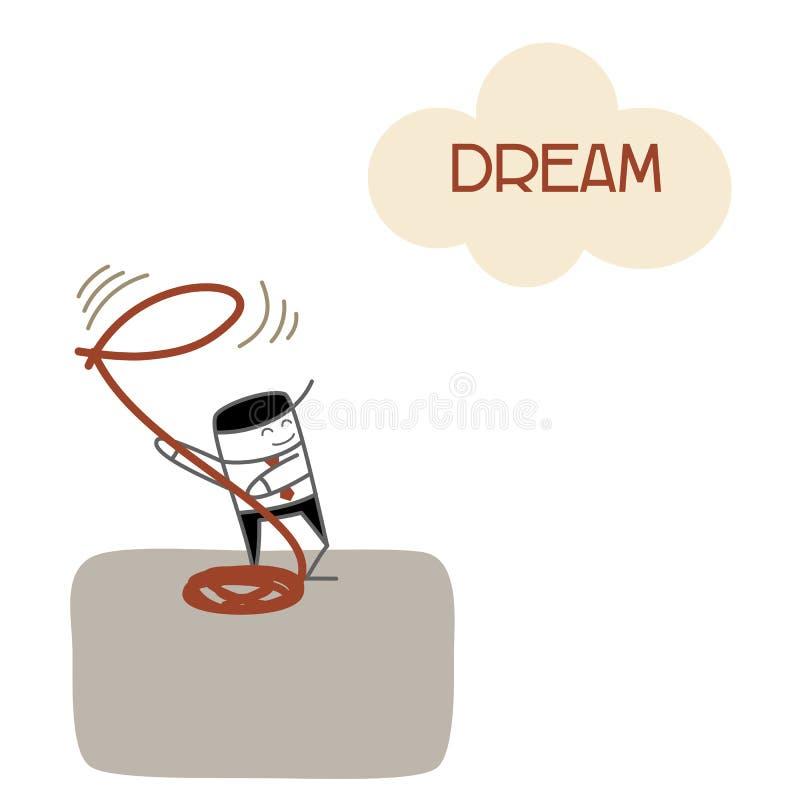 Rêve et succès de vision d'homme d'affaires illustration stock