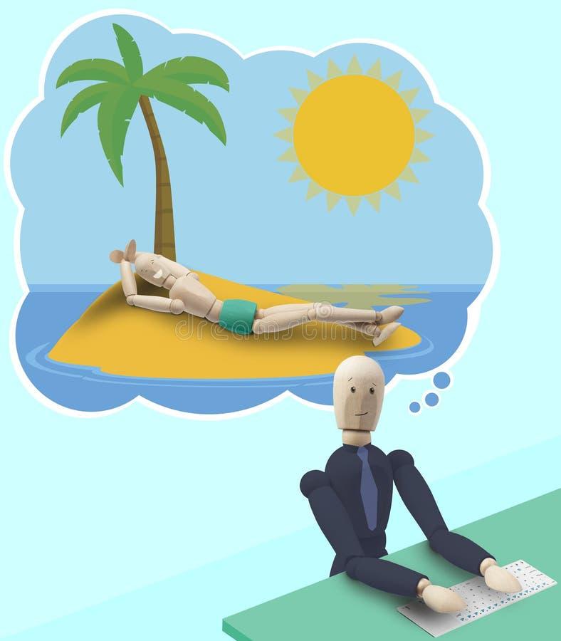 Rêver de l'été holyday au travail illustration stock