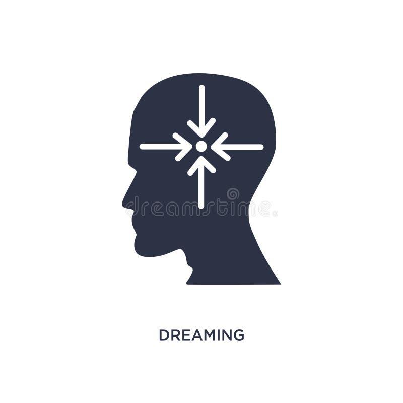 rêver l'icône sur le fond blanc Illustration simple d'élément de concept de processus de cerveau illustration de vecteur