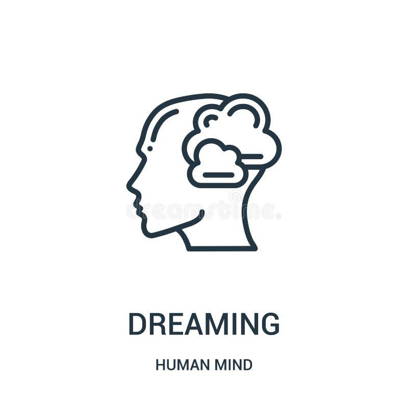 rêver le vecteur d'icône de la collection d'esprit humain Ligne mince rêvant l'illustration de vecteur d'icône d'ensemble Symbole illustration de vecteur