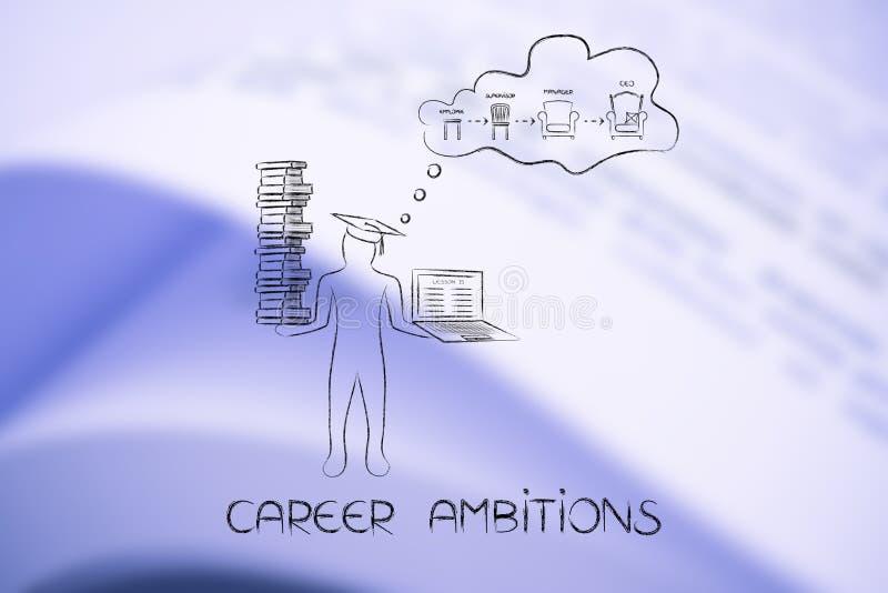 Rêverie d'étudiant du progrès de l'employé au CEO, metapho illustration stock